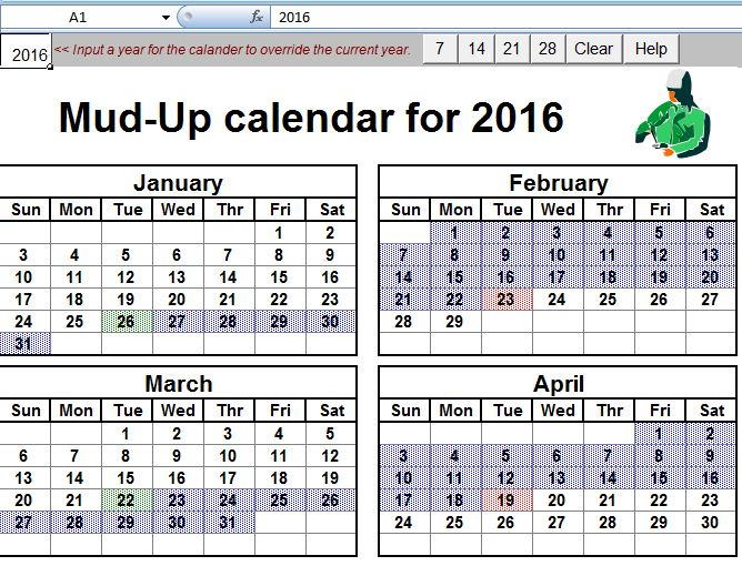 Mud Up Calendar Rotational Planner Sheet for Oilfield