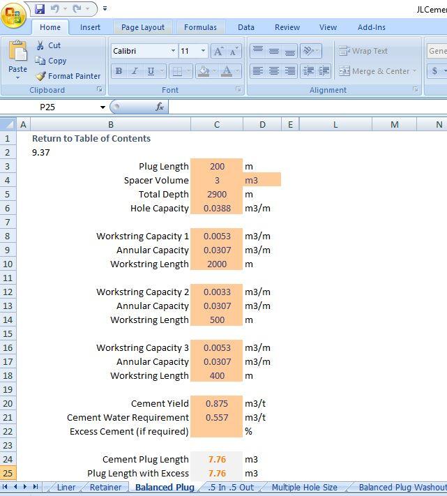 Cement Calculator (Metric Unit) Excel Spreadsheet - Drilling