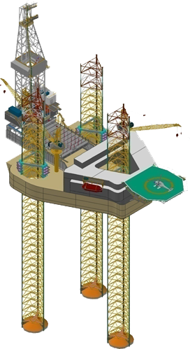 Figure 3 - A Jack Up Rig with Spud Can Footing