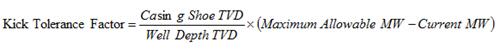 Kick Tolerance Factor Formula