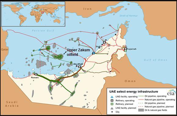 United Arab Emirates Oilfield Map