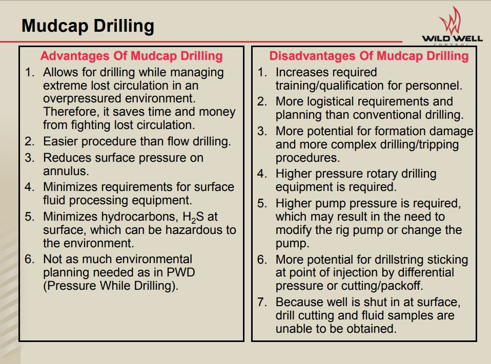 Example - Advantages and Disadvantages of mud cap drilling, Wild Well Control (2017)